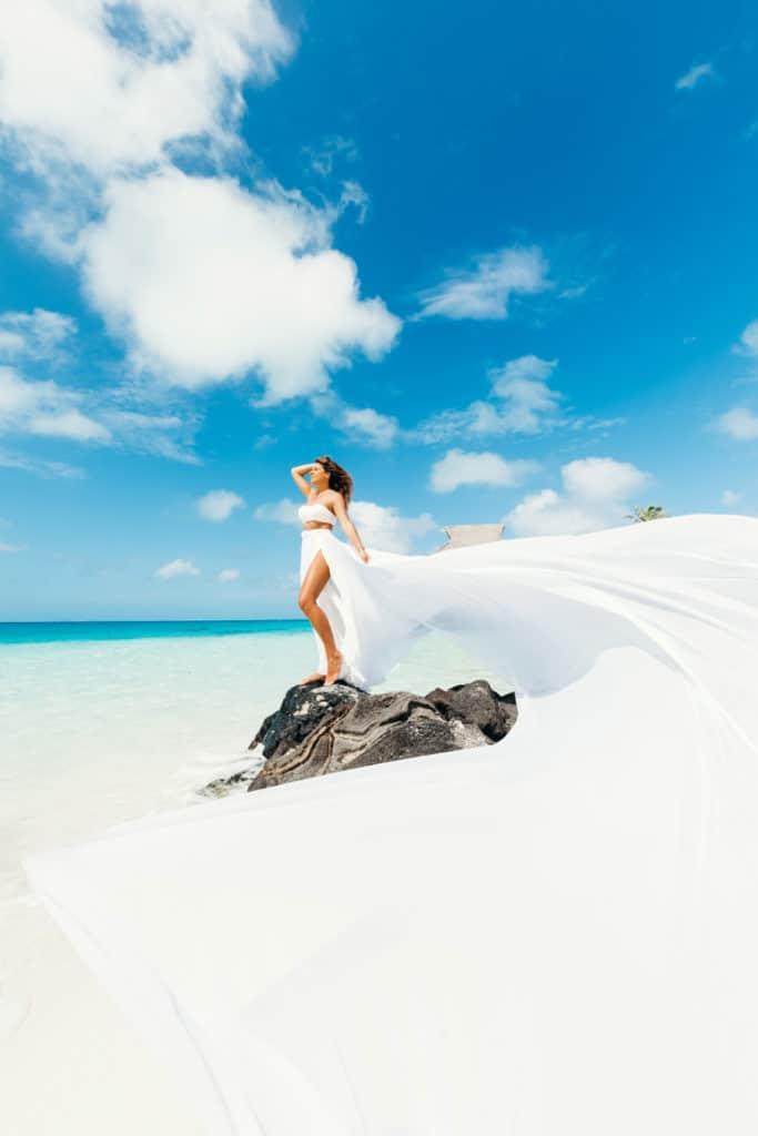 White maxi flying dress photoshoot by Bora Bora Photographer