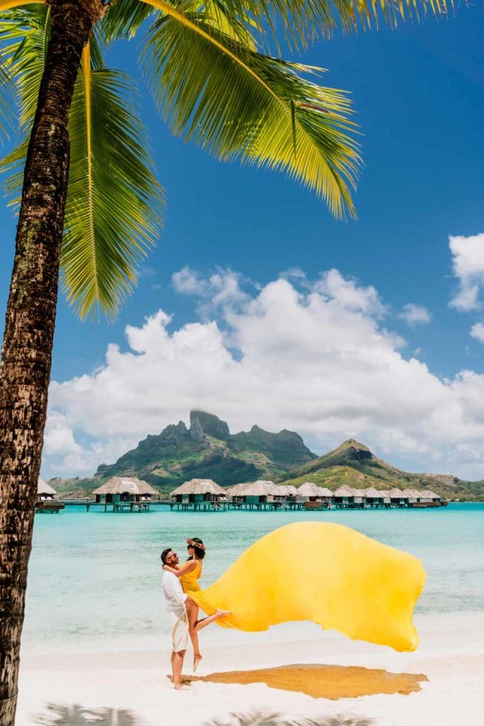 Photoshoot in Bora Bora with maxi yellow dress