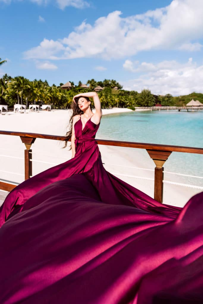 Bora Bora Photographer - Photoshoot with maxi flying dress - Purple Dress