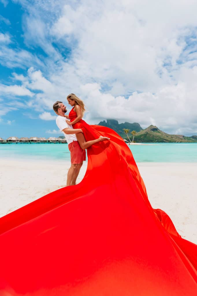 Bora Bora Photographer - Photoshoot with maxi flying dress