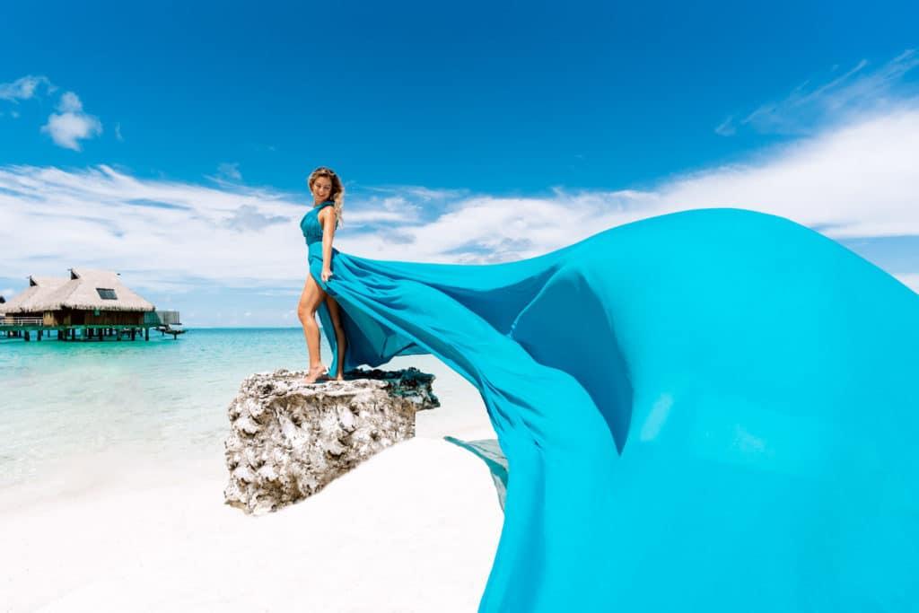 Maxi Blue Dress - Photoshoot Conrad Bora Bora
