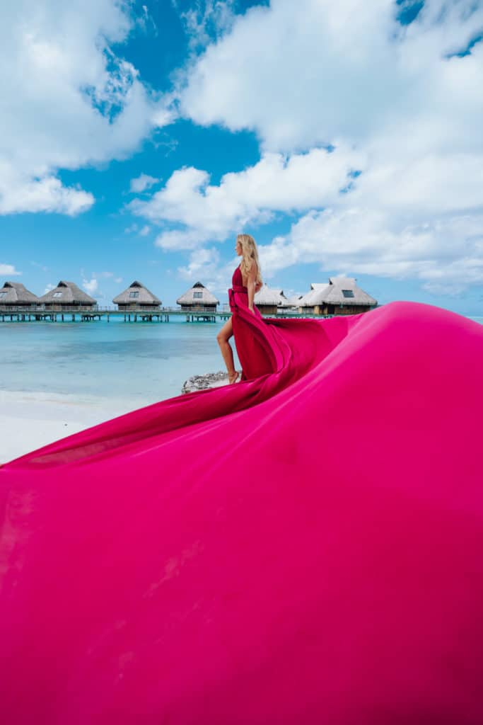 Maxi pink flying dress in Bora Bora