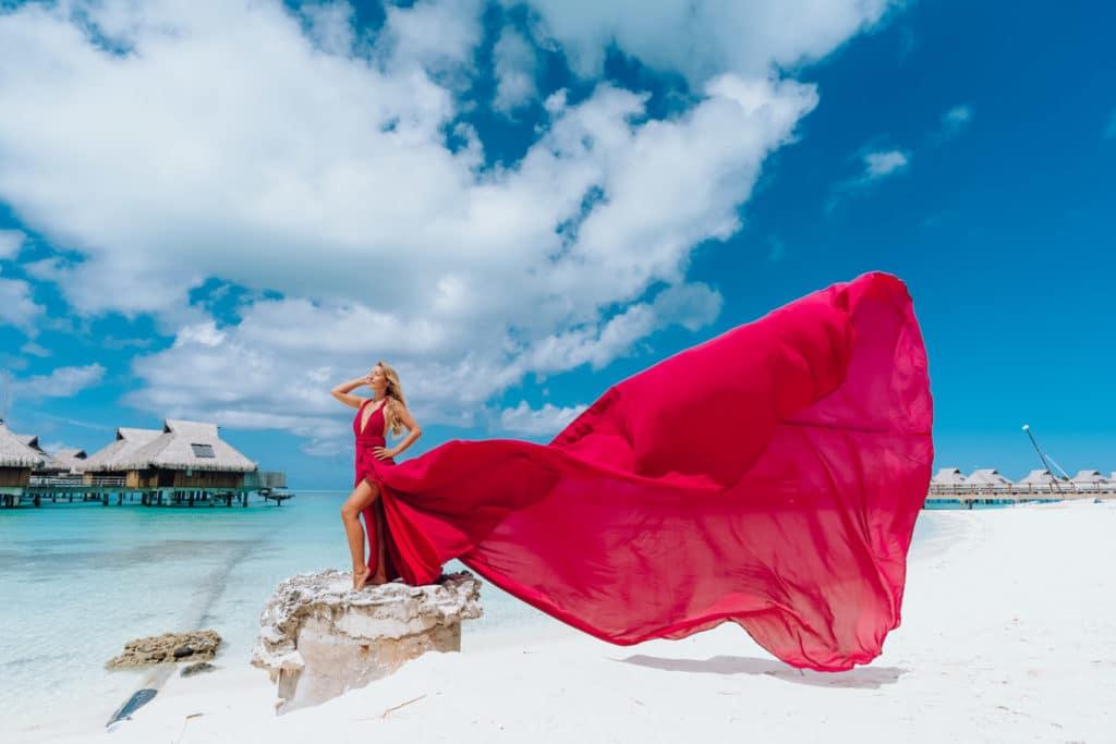 Maxi pink flying dress in Bora Bora